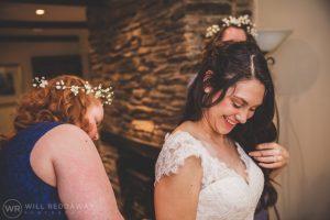 Bridal Preparations | Devon Wedding Photographer | Smiling Bride