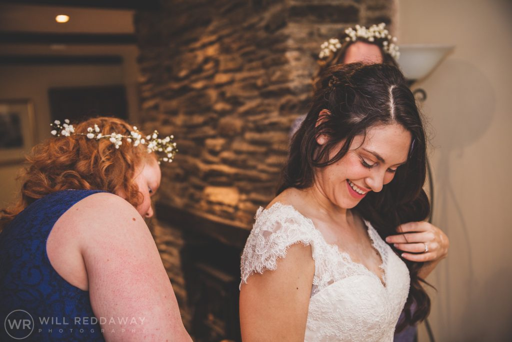 Bridal Preparations | Devon Wedding Photographer | Smiling Bride
