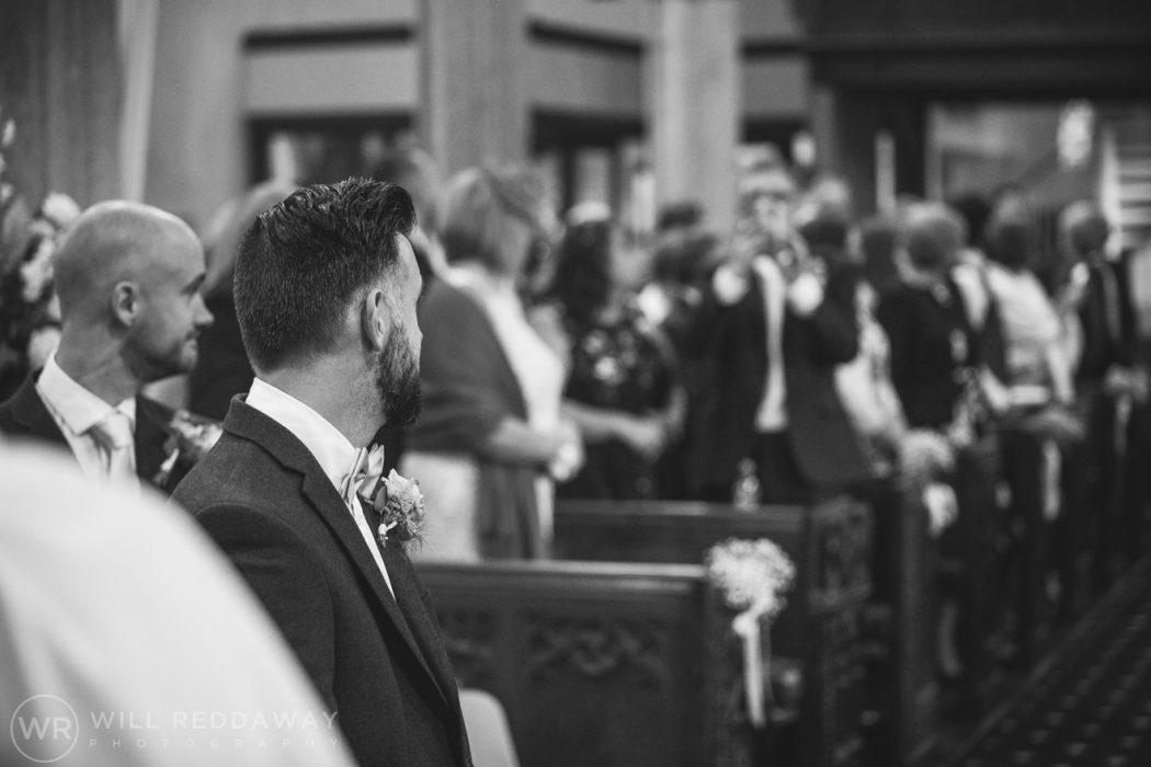 Hayne Barn Wedding | Devon Wedding Photographer | Groom In Church