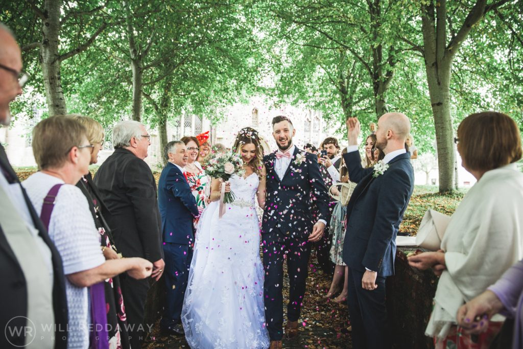 Hayne Barn Wedding | Devon Wedding Photographer | Bride & Groom Confetti