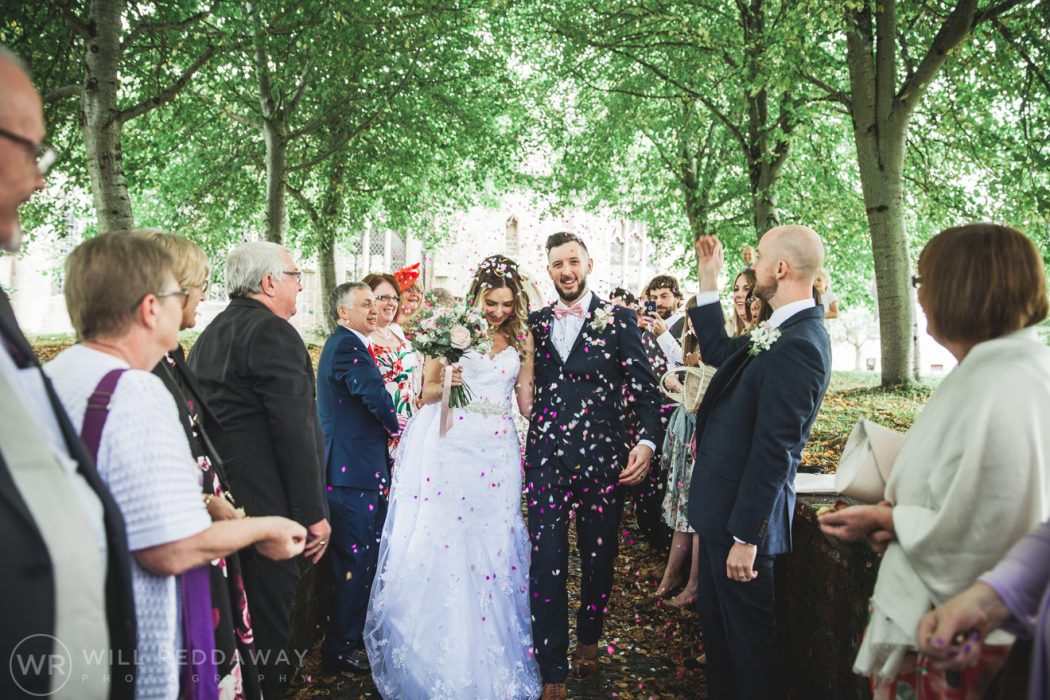 Hayne Barn Wedding | Devon Wedding Photographer | Bride & Groom Confetti