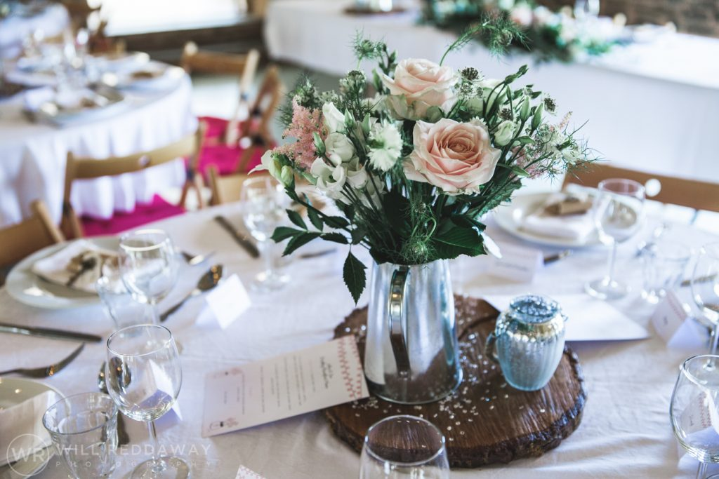 Hayne Barn Wedding | Devon Wedding Photographer | Table Decorations