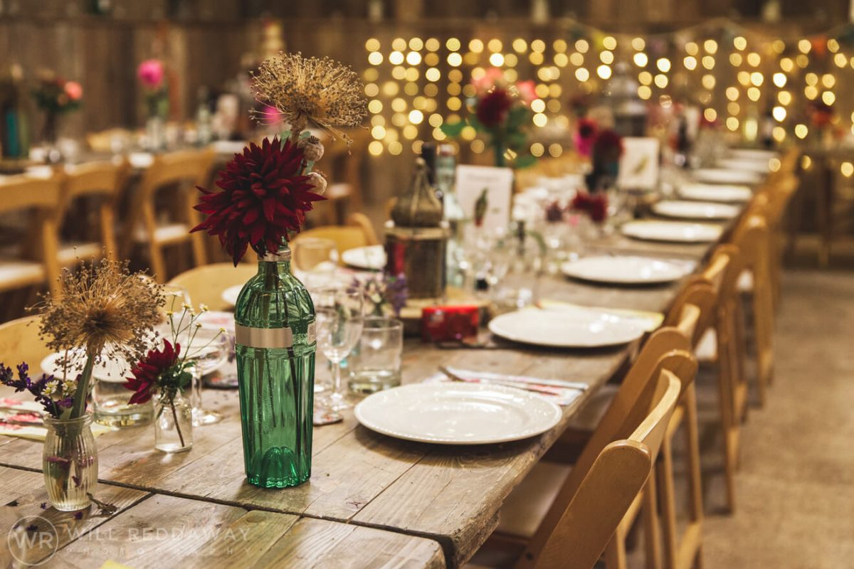 The Barn At South Milton Wedding | Devon Wedding Photographer | Table Decoration