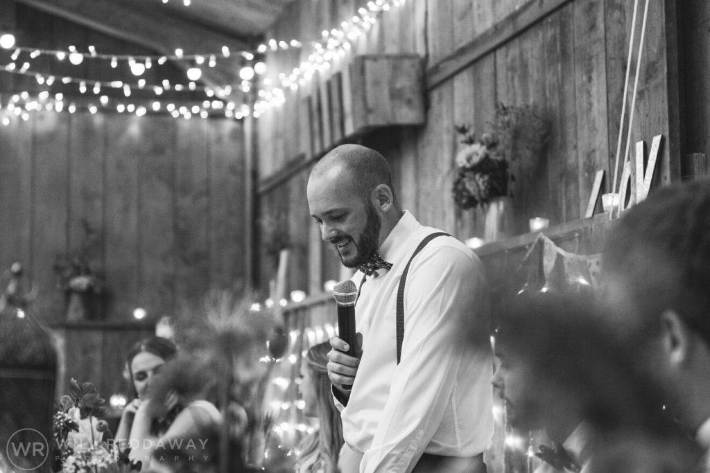 The Barn At South Milton Wedding | Devon Wedding Photographer | Grooms Speech