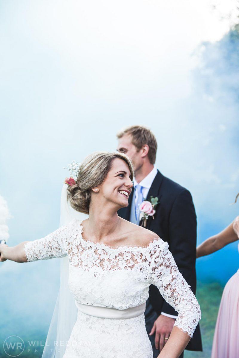 Barn Wedding   Devon Wedding Photographer   Smoke Bombs