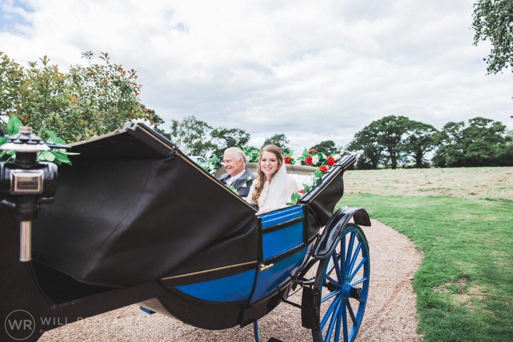 Farringdon Marquee Wedding   Devon Wedding Photographer   Bride In Horse & Carriage