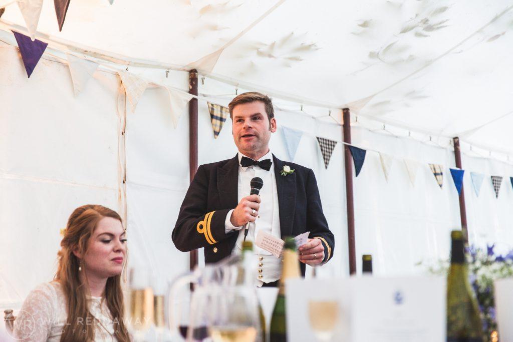 Farringdon Marquee Wedding   Devon Wedding Photographer   Groom Speech